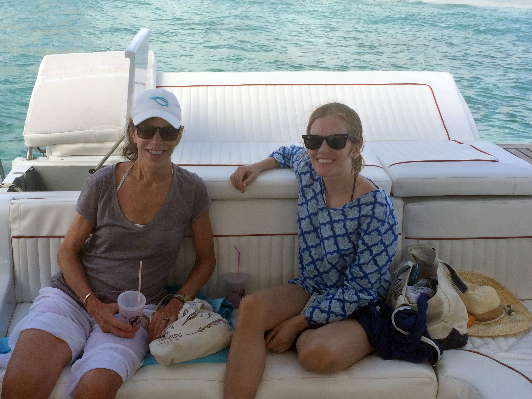 With my mom on the boat tour of the island
