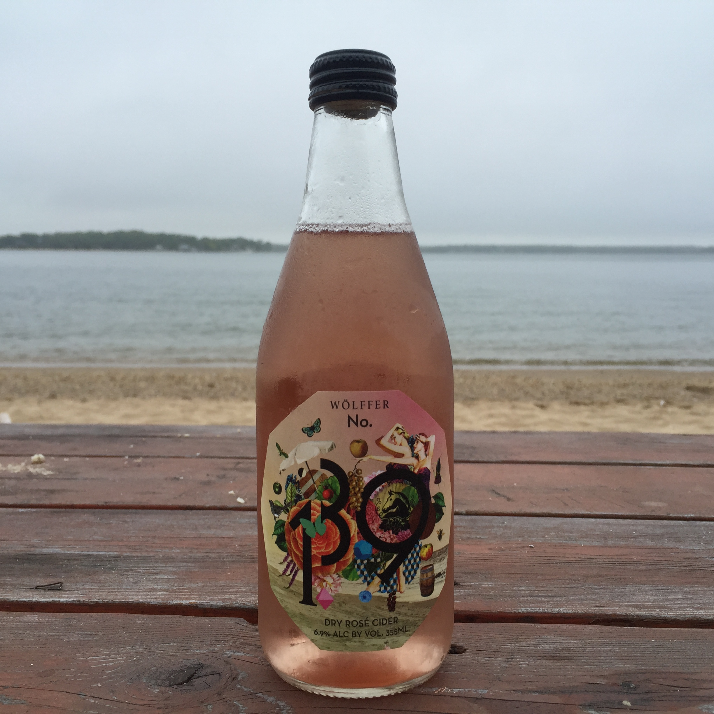Enjoying some Wölffer Rosé Cider on the beach